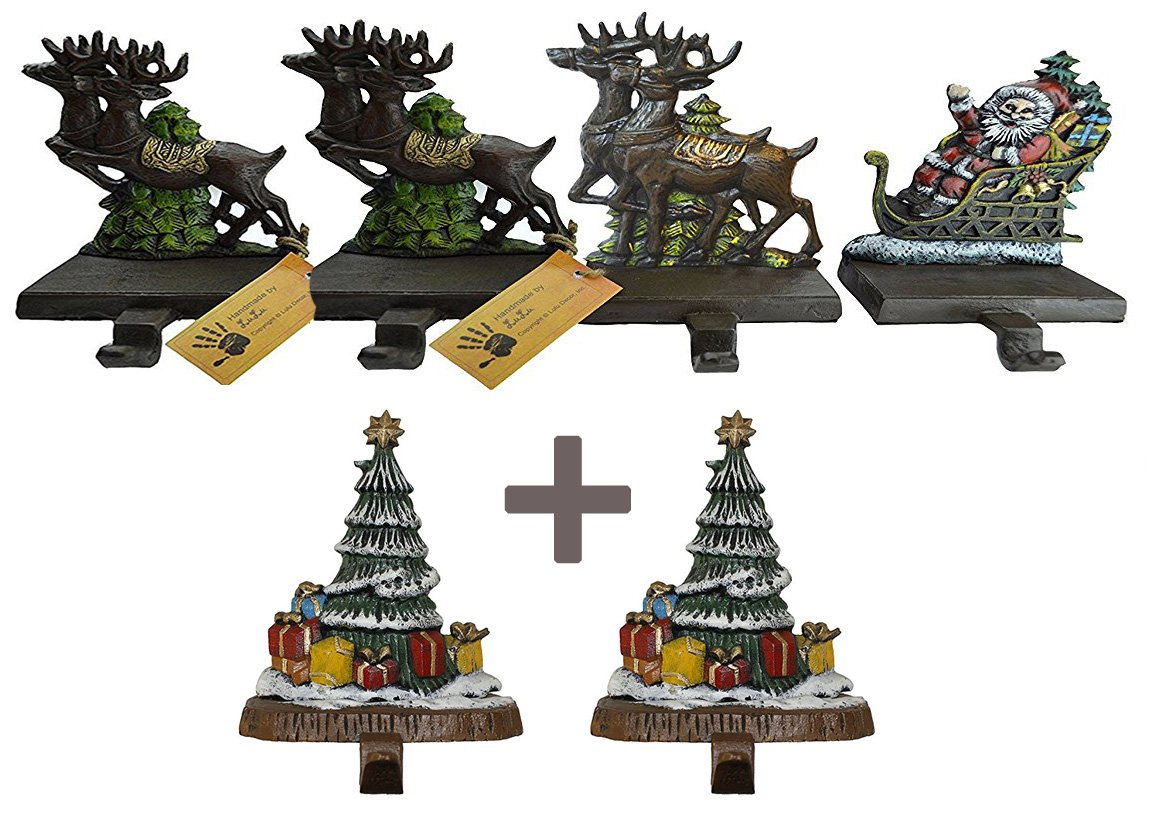 Lulu Decor, 100% Cast Iron Santa Claus & 3 Reindeers Decorative Christmas Stocking holders Plus 2 Trees 8'', 6 strong hooks, each weighs approx 3 lb, beautiful solid appearance(Combo Deal CODTG2) by LuLu
