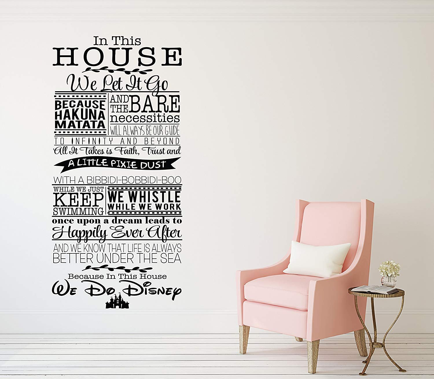 in This House We Do Disney Wall Decal Vinyl Wall Lettering Decal Walt Disney Movie Quotes Home Decor Sticker (30