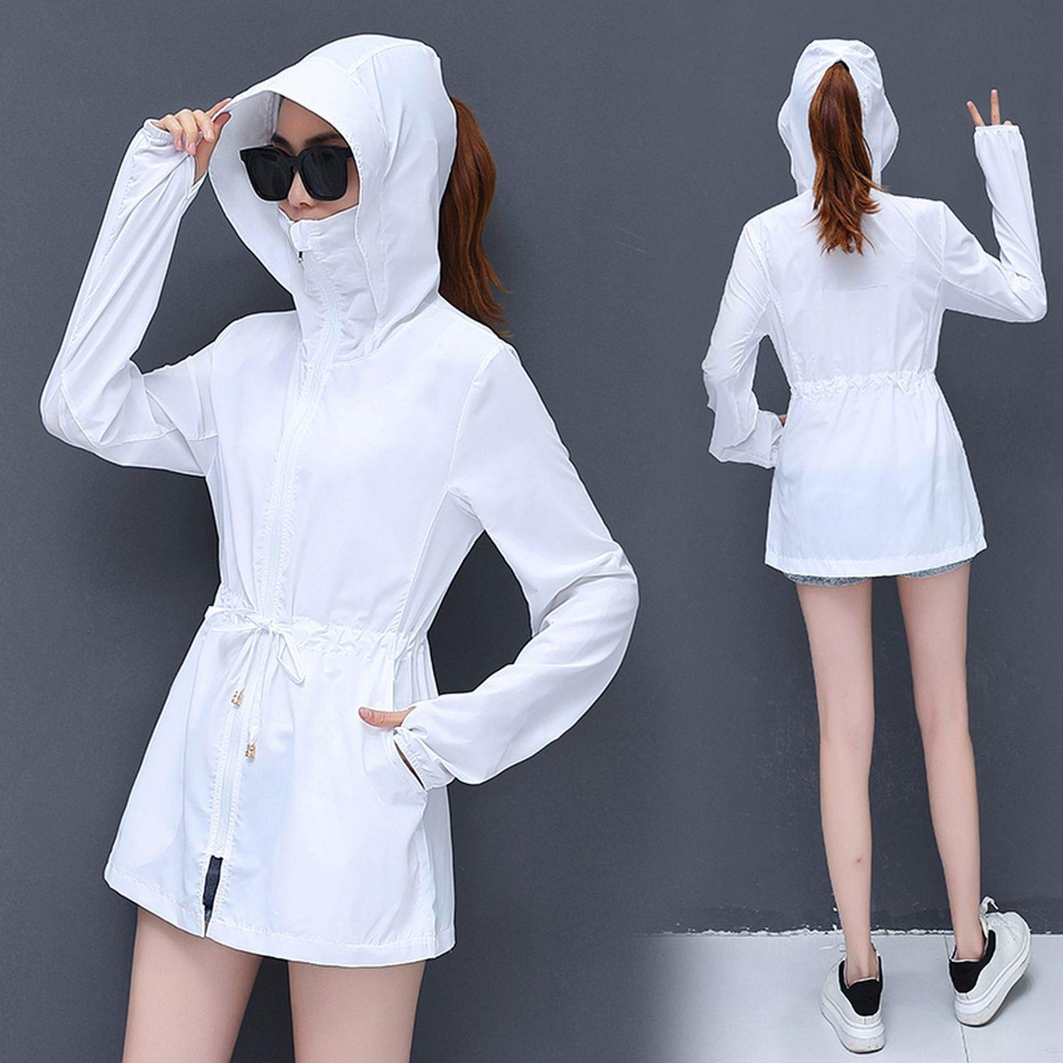 Summer Beach Thin Plus Size Outwear Women Sunscreen Sun Protection Clothing Hooded Cardigan