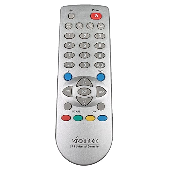 plateado Mando a distancia universal para TV Vivanco Universal 2in1 TV//DVB