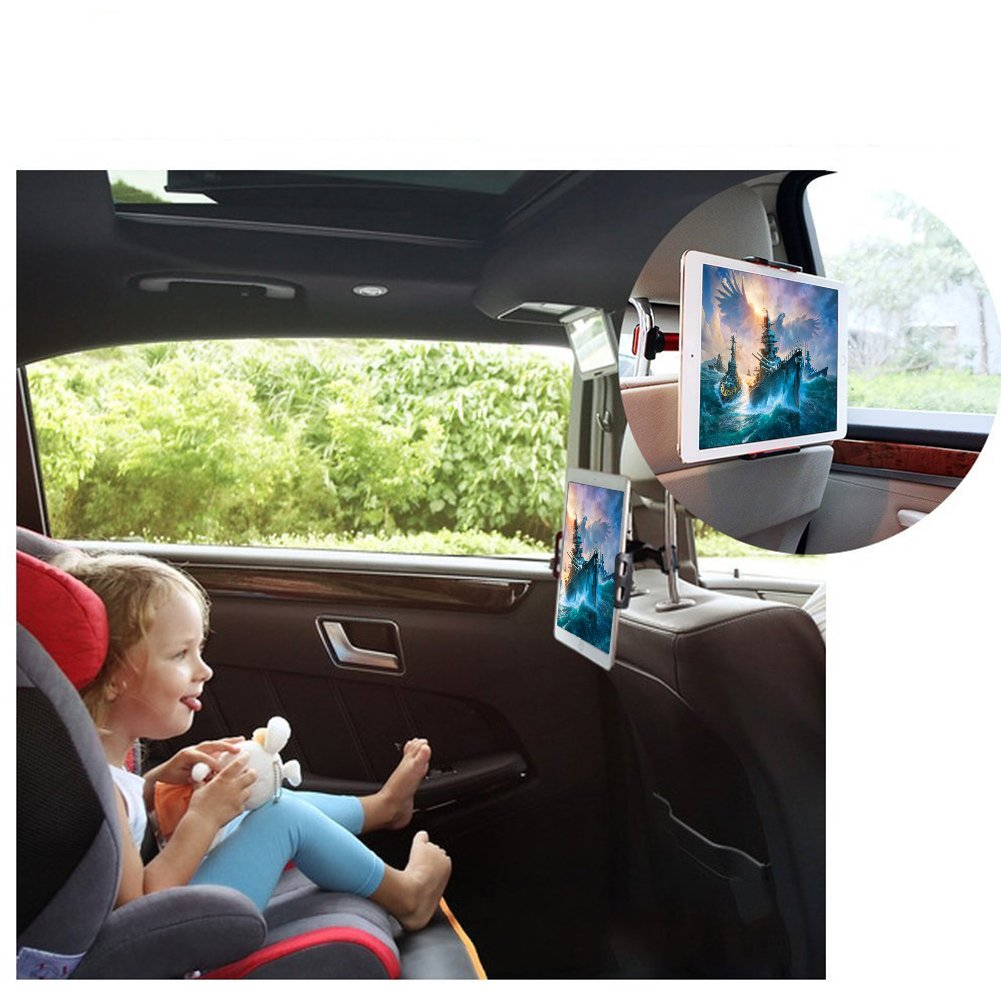 CHM-Red Tablet//Phone Car Headrest Mount Red Moonooda Universal 360 Degree Rotating Adjustable Backseat Holder Compatible Smartphones and Tablets 4/'/' to 10.1/'/'