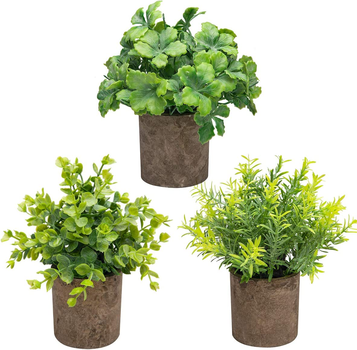 THE BLOOM TIMES Set of 3 Small Potted Artificial Plants Plastic Fake Greenery Boxwood Rosemary Mini Faux Plants in Pots for Rustic Home Office Desk Table Farmhouse Bathroom Kitchen Indoor Decor