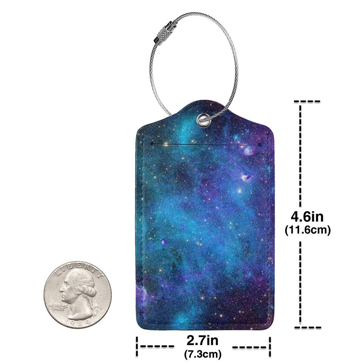 Stars-Space Leather Luggage Tags Personalized Address Card With Privacy Flap