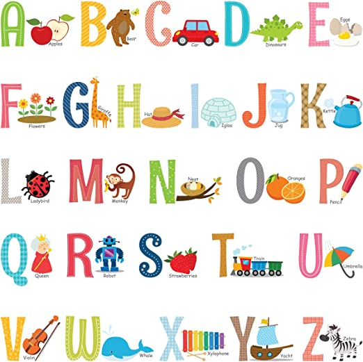 Alphabet Alphabet Wall Decals H2MTOOL Removable Animal ABC Wall Stickers for Kids Nursery Room Decor