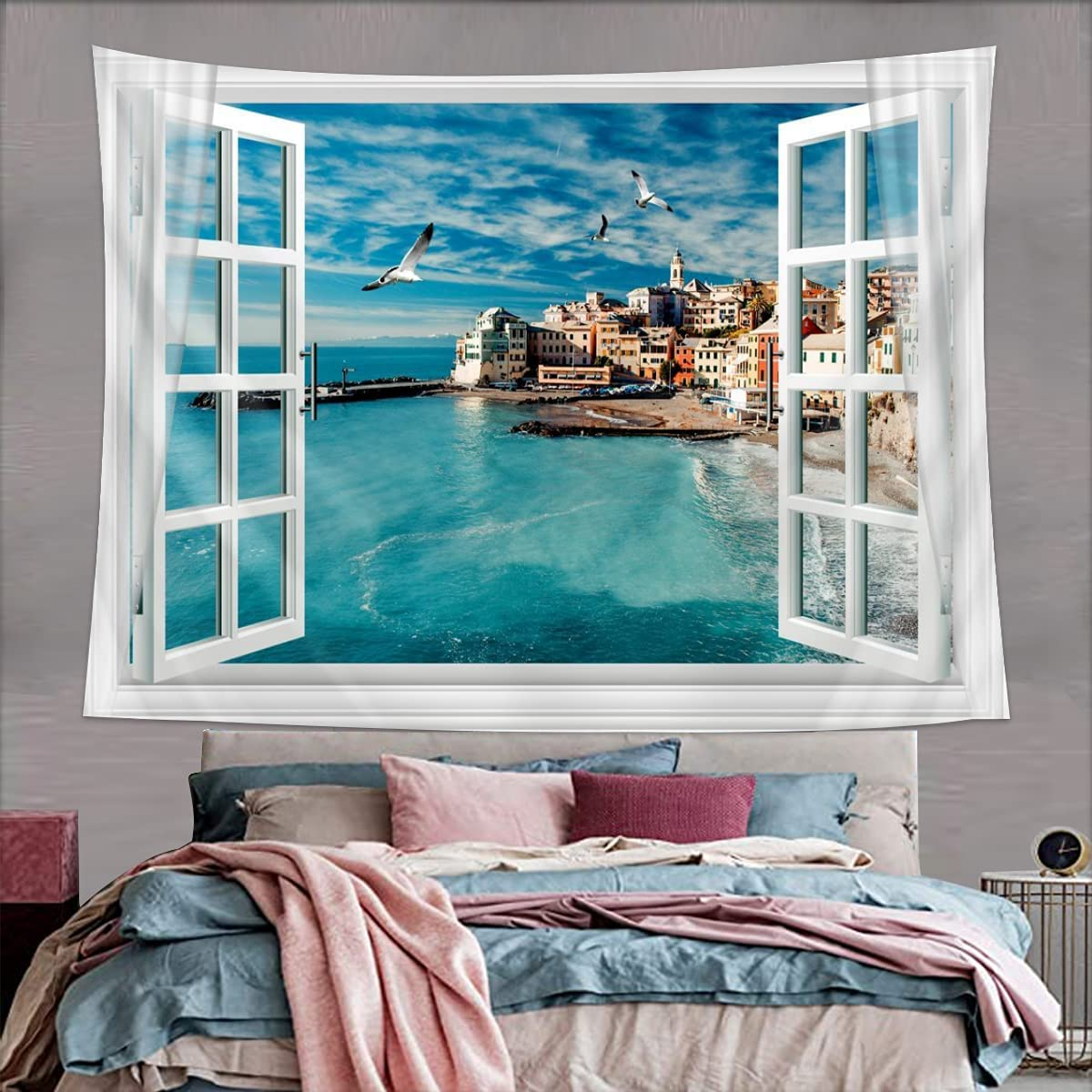 Window Tapestry Wall Hanging Ocean Bedroom Wall Decor,Beach Scene Tapestry Wall Hanging Home Decor For Bedroom, Dorm, College, Living Room, 51x60 Inches , Blue Nature Wall Tapestry 51x59 Inches