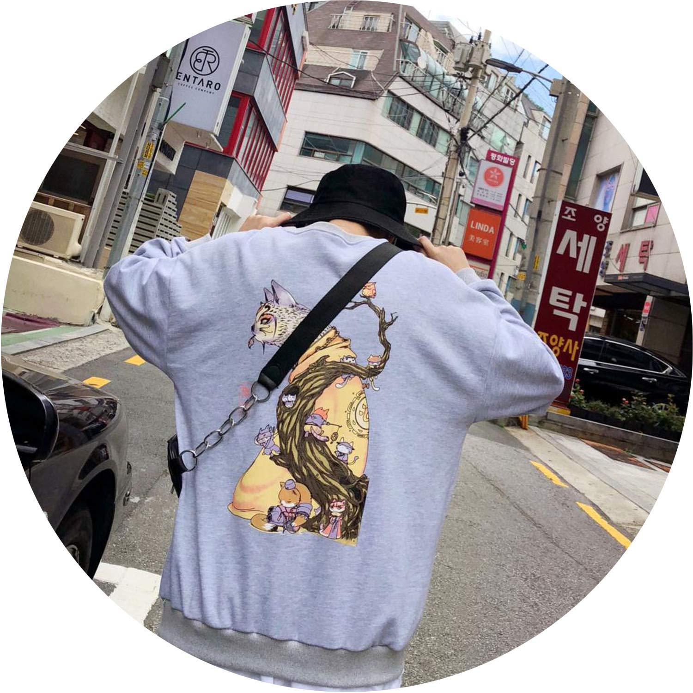 Grey(Asian Size) XLarge colorful Dream Embroidery Funny Cat Sweatshirt 2019 Harajuku Print ONeck Hiphop Windbreaker