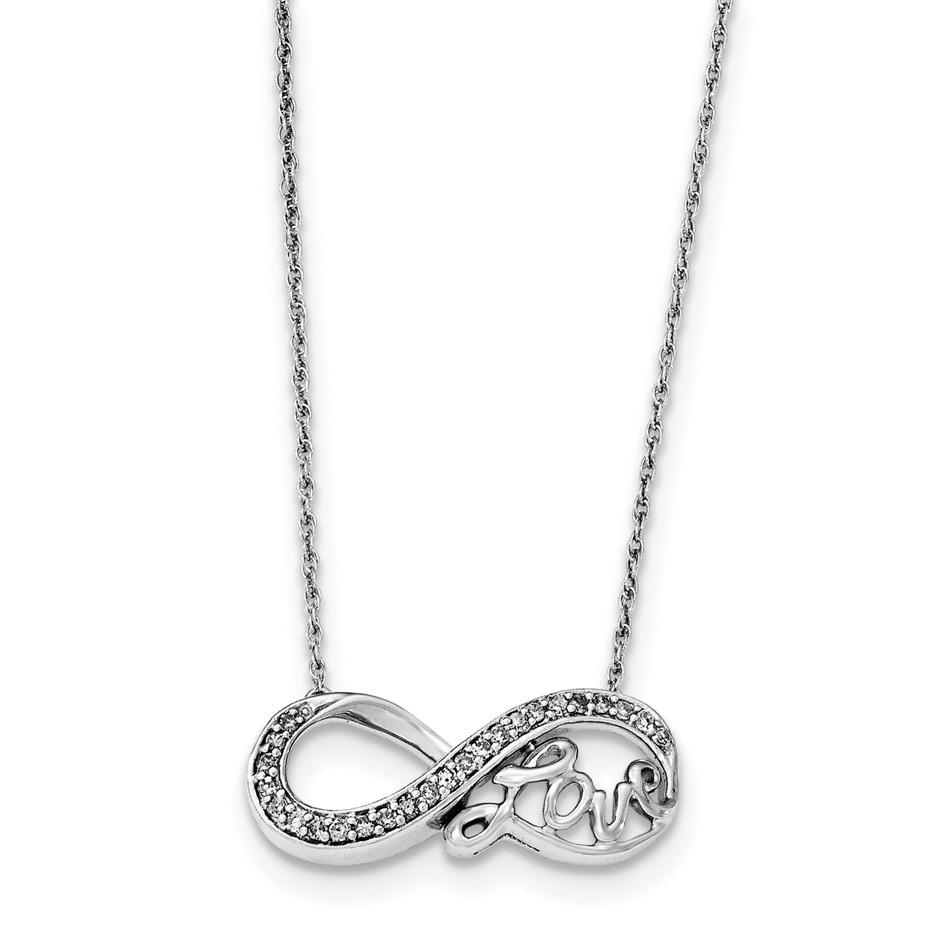 ICE CARATS 925 Sterling Silver Diamond Infinity Symbol Love Chain Necklace S/love Fine Jewelry Gift For Women Heart