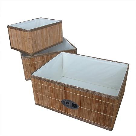 Angel Living Cestas de Almacenaje de Bambú, Cajas de Almacenaje Decorativas, Cestos para Almacenaje de Ropa, Juguetes, 3 pcs, Natural: Amazon.es: Hogar