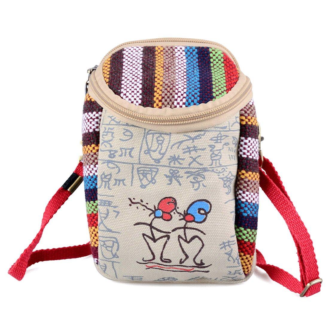 Jiyaru Women Embroidered Purse Cellphone Wallet Crossbody Bag Mini Shoulder Bag Beige