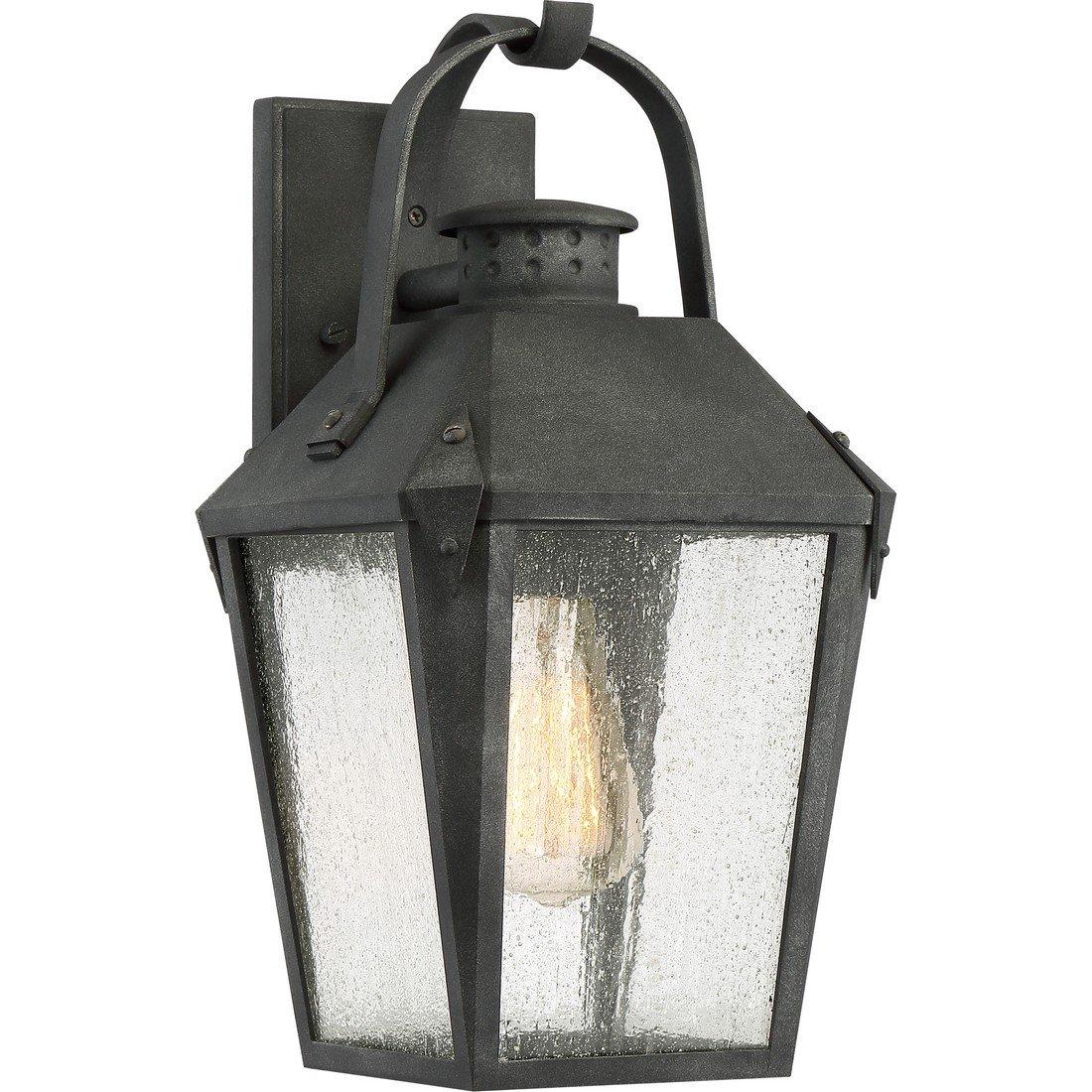 Quoizel One Light Outdoor Wall Lantern CRG8408MB, Medium, Mottled Black