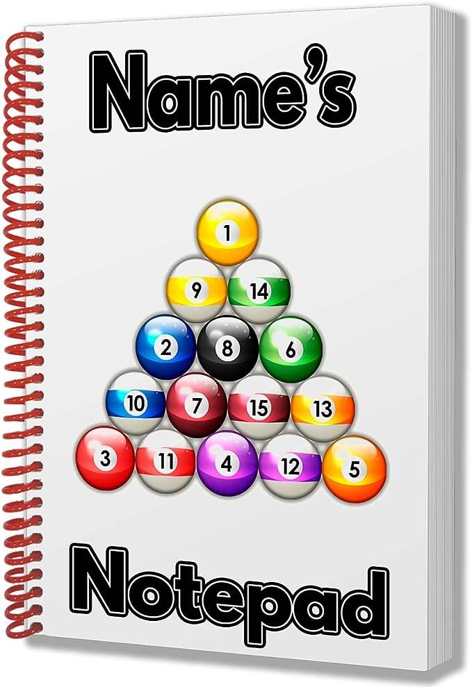 Bolas de billar personalizadas regalo – Bloc de notas A5 – cualquier nombre impreso en la cubierta: Amazon.es: Oficina y papelería