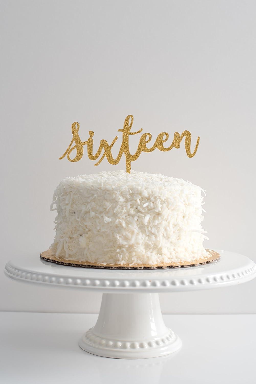 Fantastic 16Th Sweet 16 Sixteenth Birthday Gold Glitter Cake Topper Acrylic Personalised Birthday Cards Epsylily Jamesorg