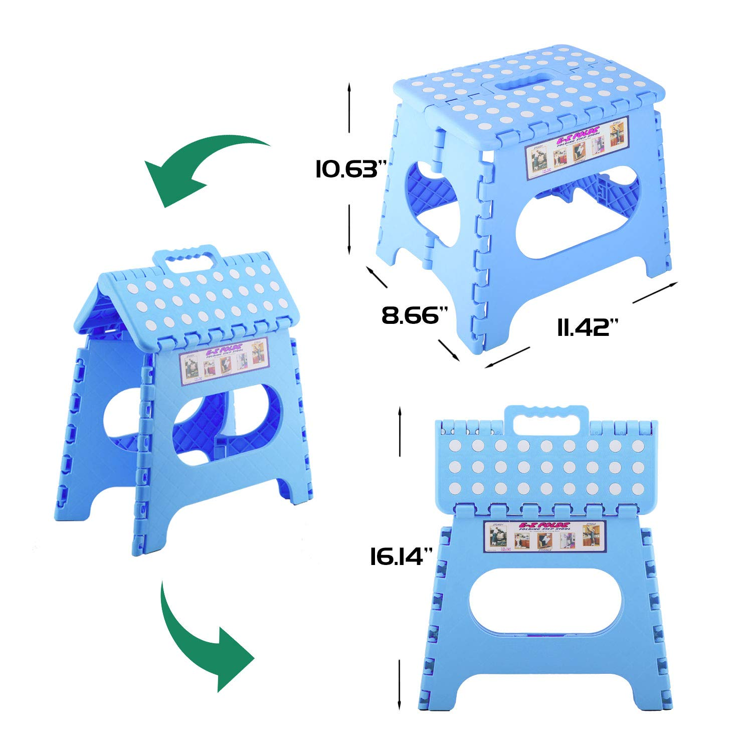 11 Portable Foldable Step Stool Compact Chair Seat with Non-Slip Surface for Home Bathroom Kitchen Garden etc Pink Kids Adults Use Housolution Folding Stool