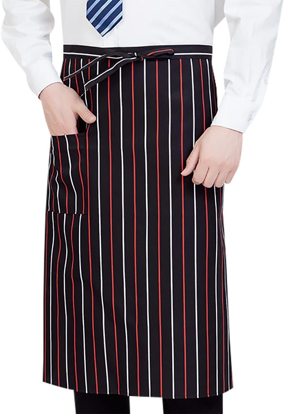 Mandil para Camarero Servidor Cafeter/ía Restaurante Delantal de Trabajo Ajustable Unisex Delantal para Cocina con Bolsillo Pr/áctico Aivtalk Rojo