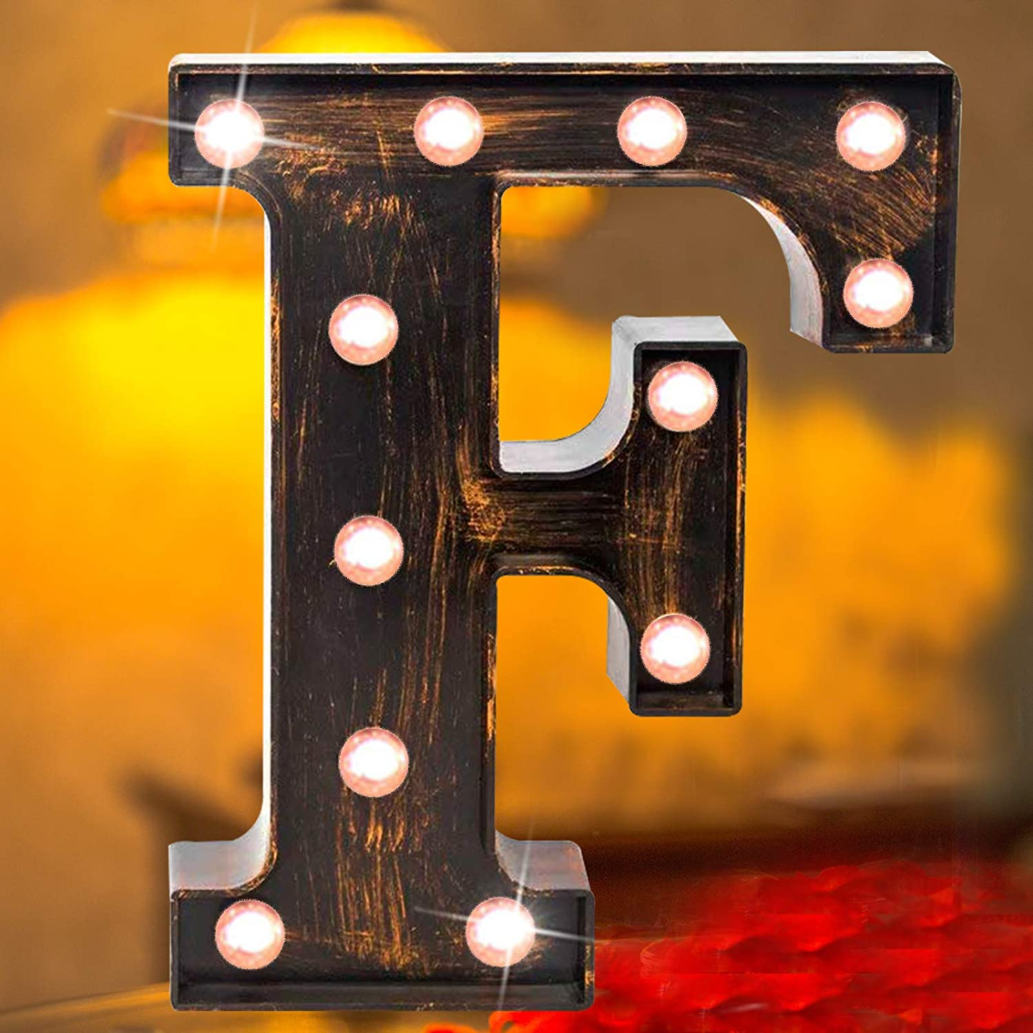 Vintage LED Marquee Letter Lights Light Up Industrial 26 Alphabet Name Signs Bar Cafe Initials Decor for Birthday Party Christmas Wedding Events(letter F)