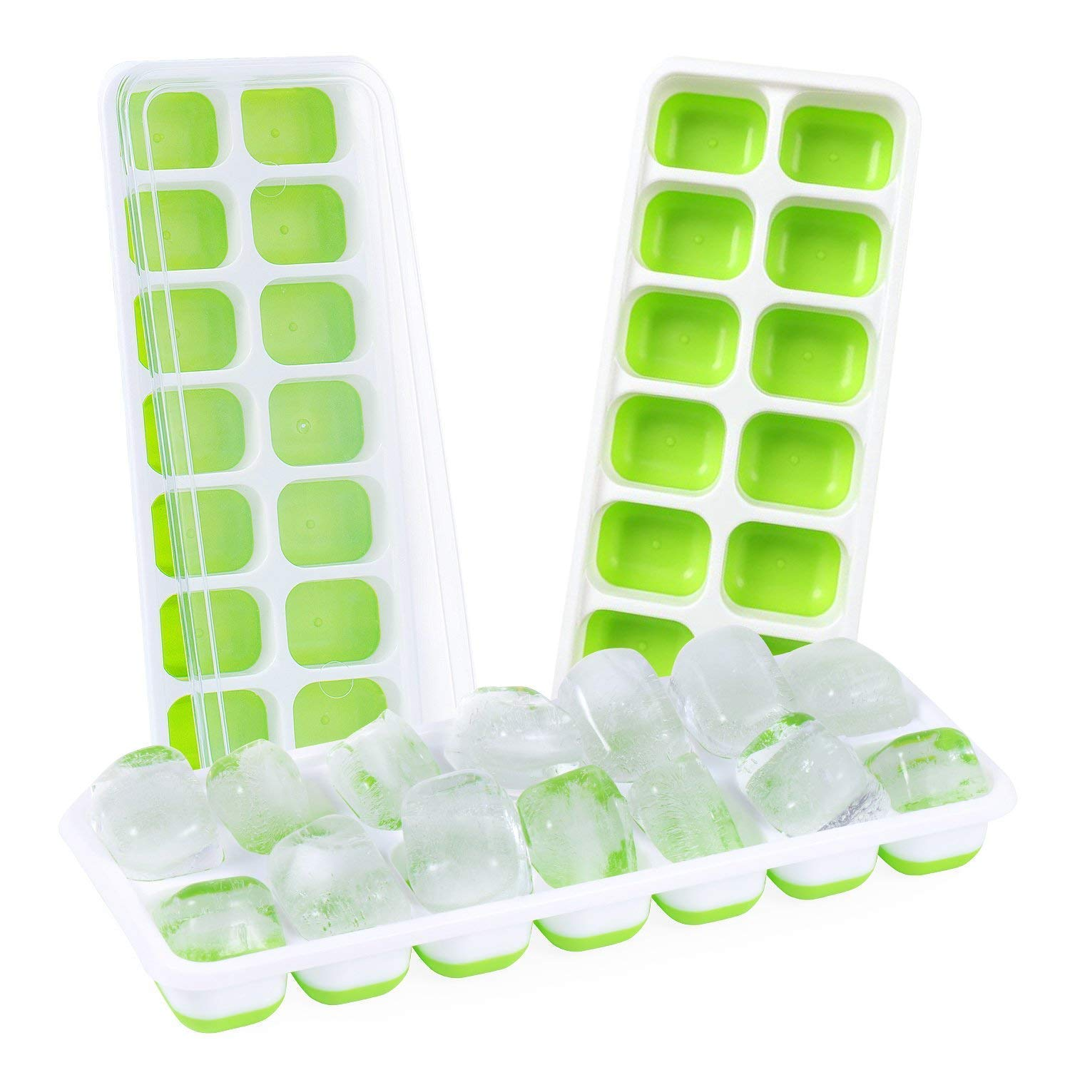 Ice Cube Trays 3 Pack, Easy Release Silicone and Flexible 14 Shaped Cubes with Spill-Resistant Removable Lid, Flexible Rubber Ice Molds for Whisky, Cocktail, Bourbon, LFGB Certified and BPA