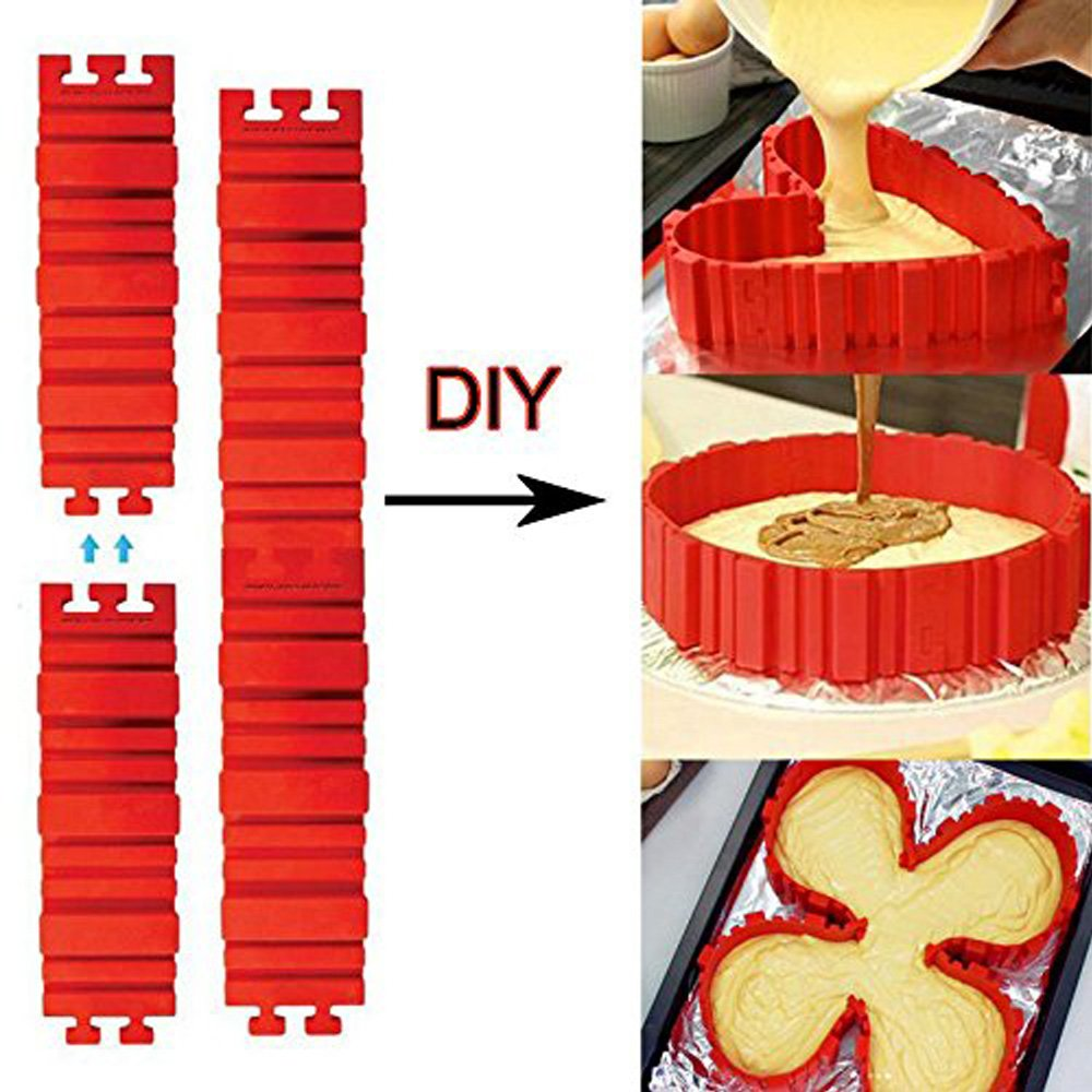 Ancaixin 4-Pcs Nonstick Red Silicone Cake Mold Snakes Flexible Set Tray for Baking Tools BPA Free CTJH-SG0075-R1