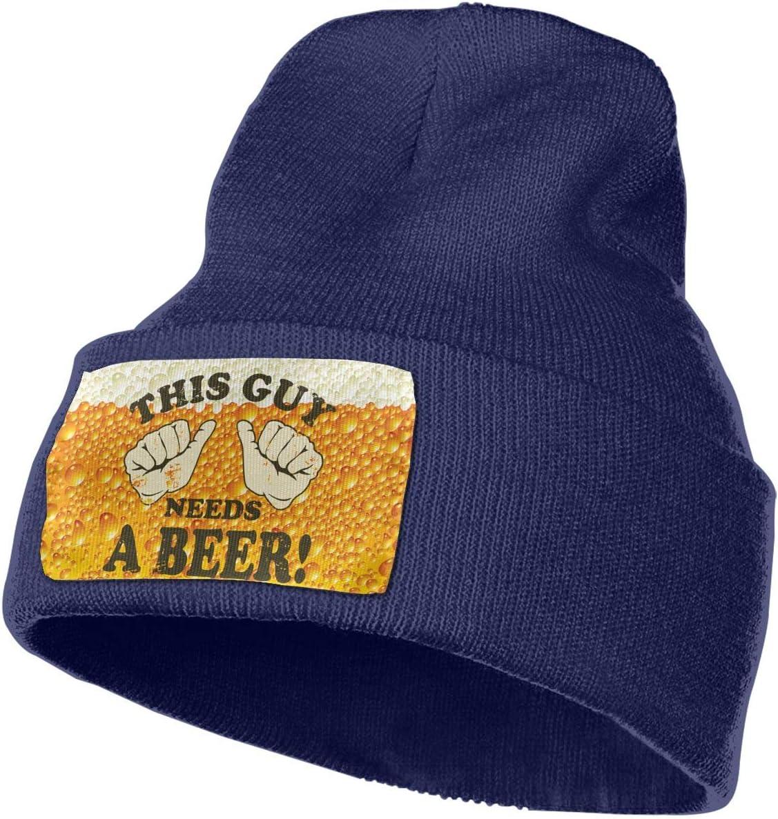 This Guy Need Beer Men/&Women Warm Winter Knit Plain Beanie Hat Skull Cap Acrylic Knit Cuff Hat