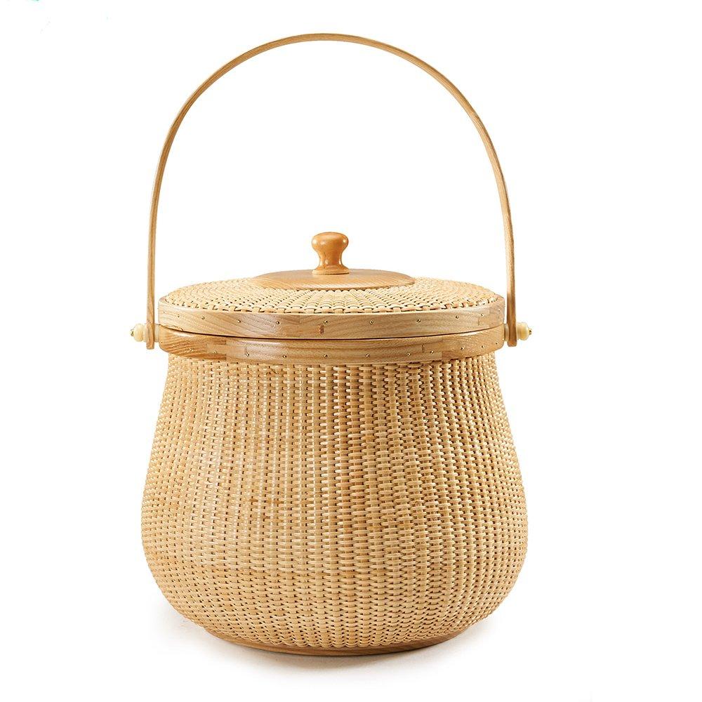 Teng Tian Basket Tea Basket , Bran Fruit Basket, Storage Basket, Desktop Organizer, Woven Rattan, Chinese Traditional Handicrafts, Casual Style, Natural Environmental Protection