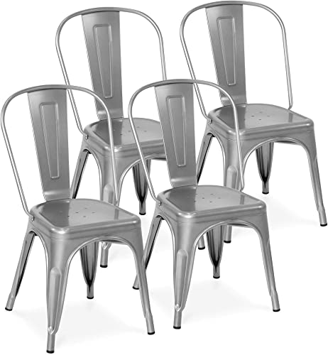 Best Choice Products Set of 4 Stacking Modern Industrial Metal Dining Chair