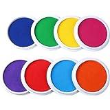 MoloTAR Craft Large Ink Pad Stamps Partner Diy Color,8 Colors Rainbow Finger Ink pad for kids (pack of 8)