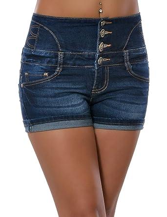 Perfekt Damen Jeans Shorts Hot Pants Kurze Hose Hochschnitt Hoher Bund  JH51