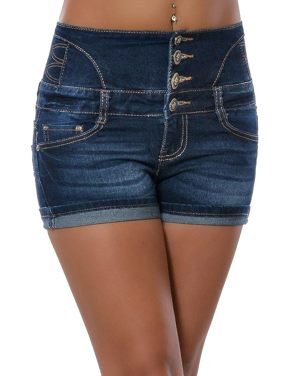 Damen Jeans Kurze Hose Shorts Hot Pants Stretch Corsage Hoher Bund Hochschnitt