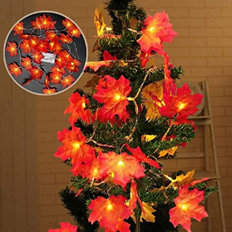 Autumn Maple Leaves Fairy String LED Lights Garland In//Outdoor Home Cozy Decor