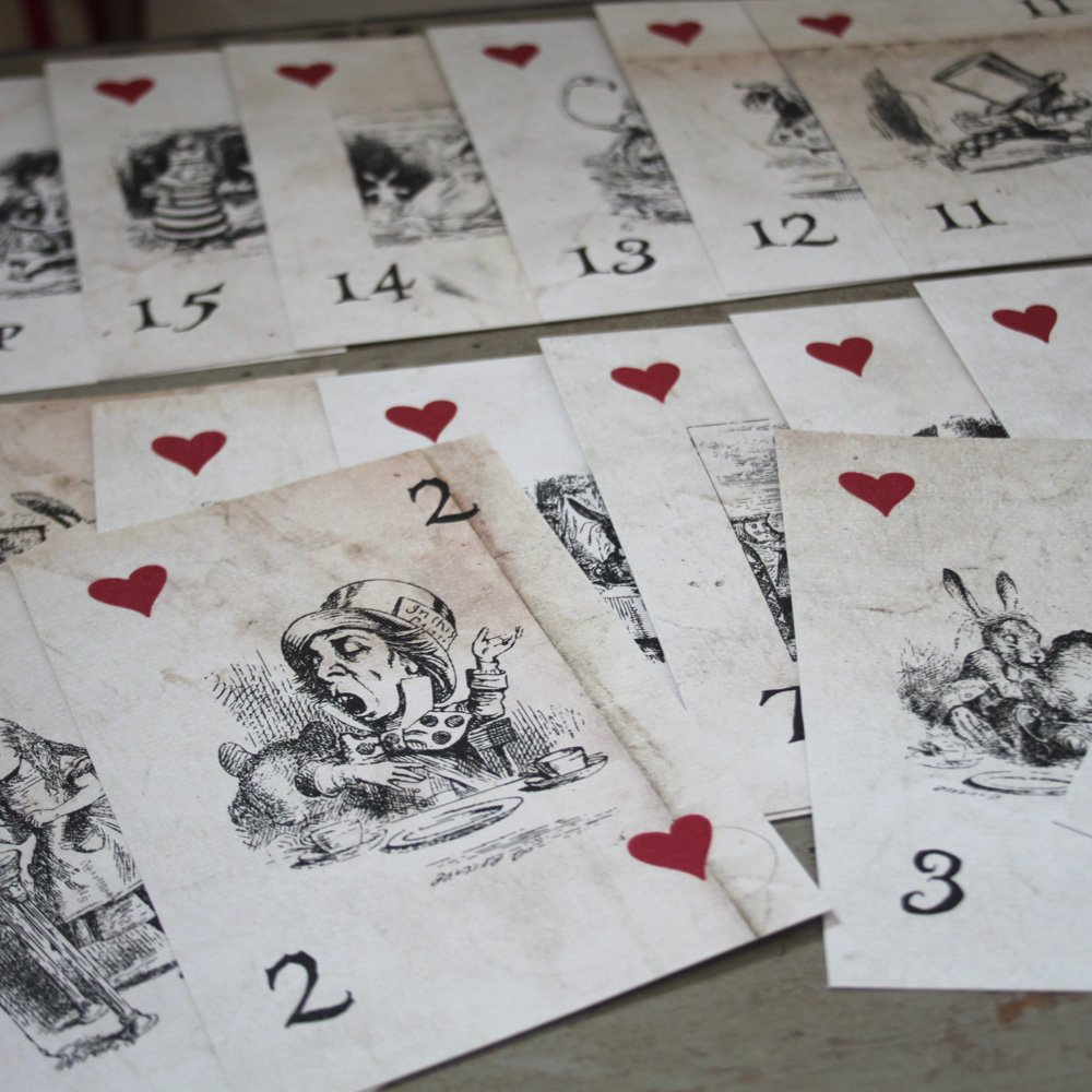 Alice in Wonderland Table Numbers - Distressed Vintage White Card 1- 15 Wedding by Luck