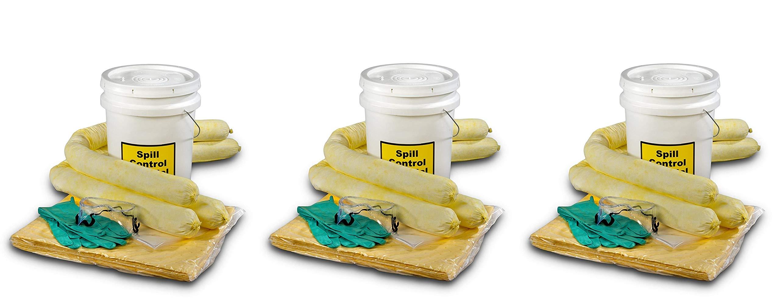 ESP SK-H5 16 Piece 5 Gallons Hazmat Absorbent Spill Kit, 5 Gallons Oil Absorbency (Pack of 3)