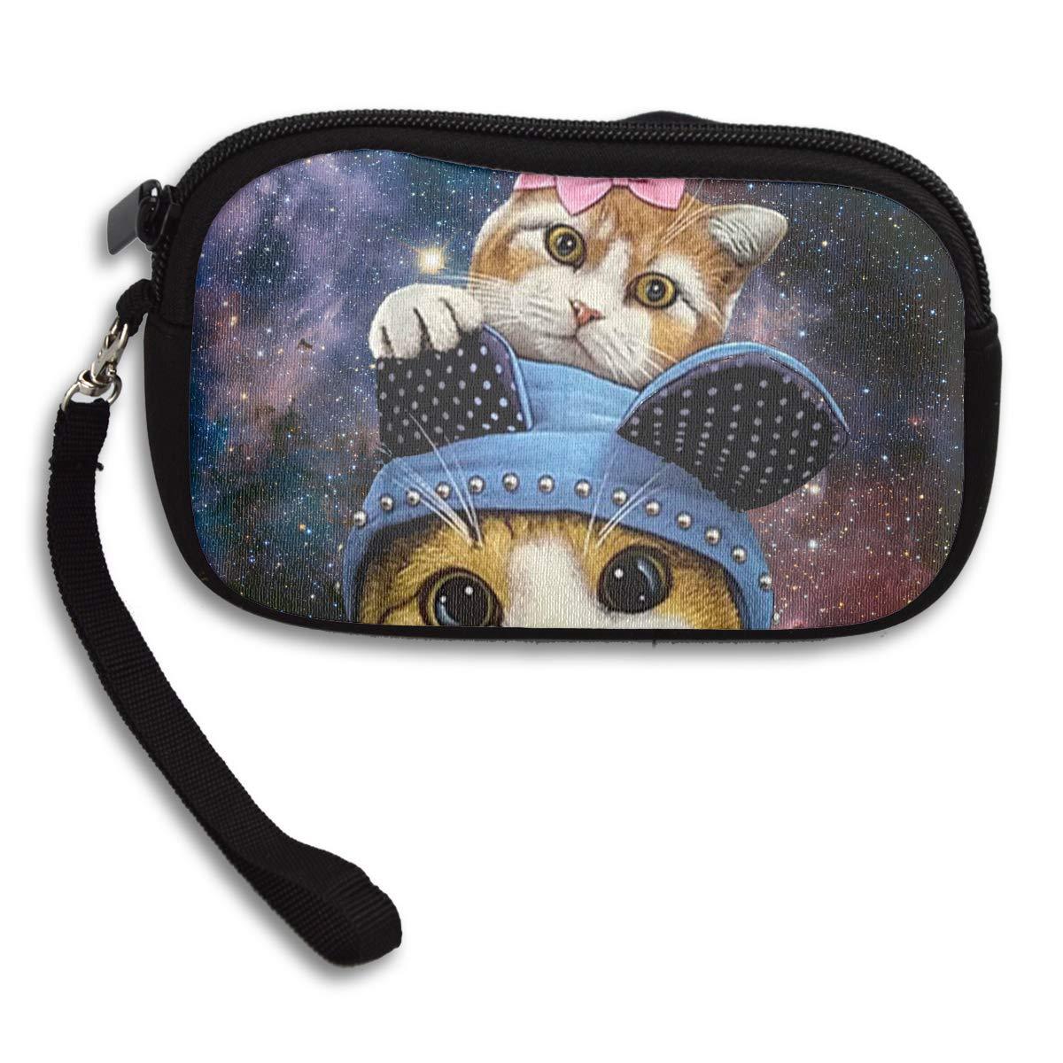 Funny Hats Twin Cat Galaxy Coin Pouch Clutch Purse Wristlet Wallet Phone Card Holder Handbag