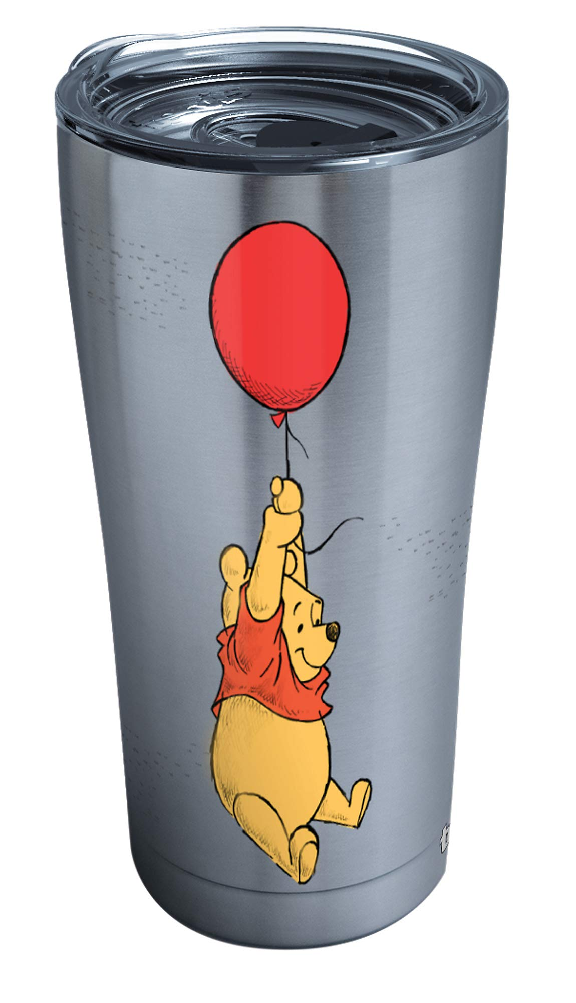 Tervis 1290652 Disney-Winnie the Pooh Balloons Tumbler with Clear and Black Hammer Lid, 20 oz Stainless Steel, Silver