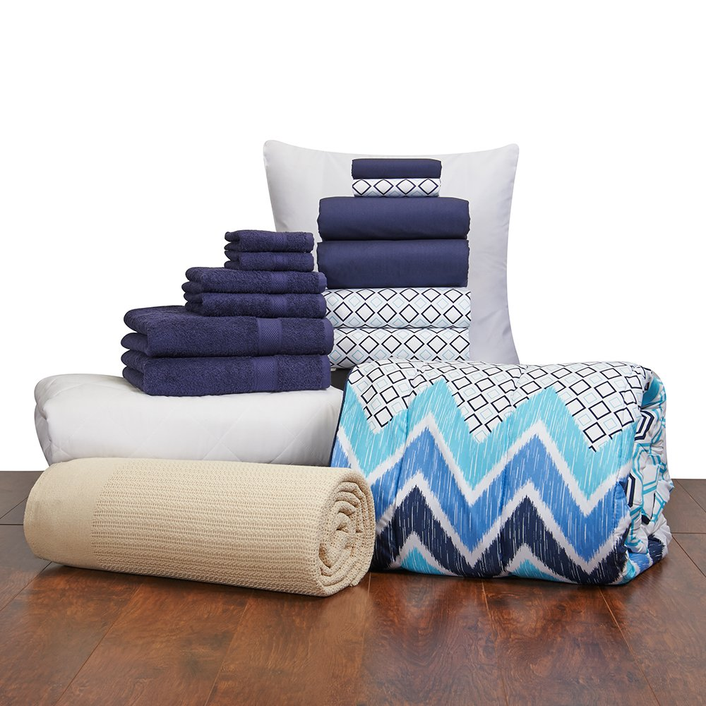16 Piece Girls Student Starter Pak ? Twin XL College Dorm Bedding and Bath Set (Color: Navy and Navy Blue Lennox)