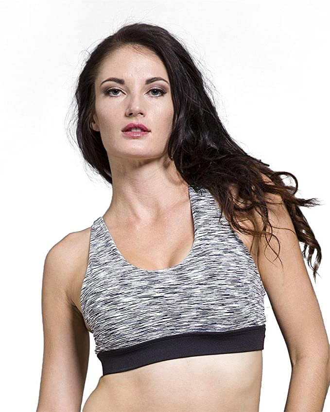9dcbd80ad836a Glyder Women s Space Dye Caged Open Back Professional Workout Running Yoga  Sports Bra at Amazon Women s Clothing store