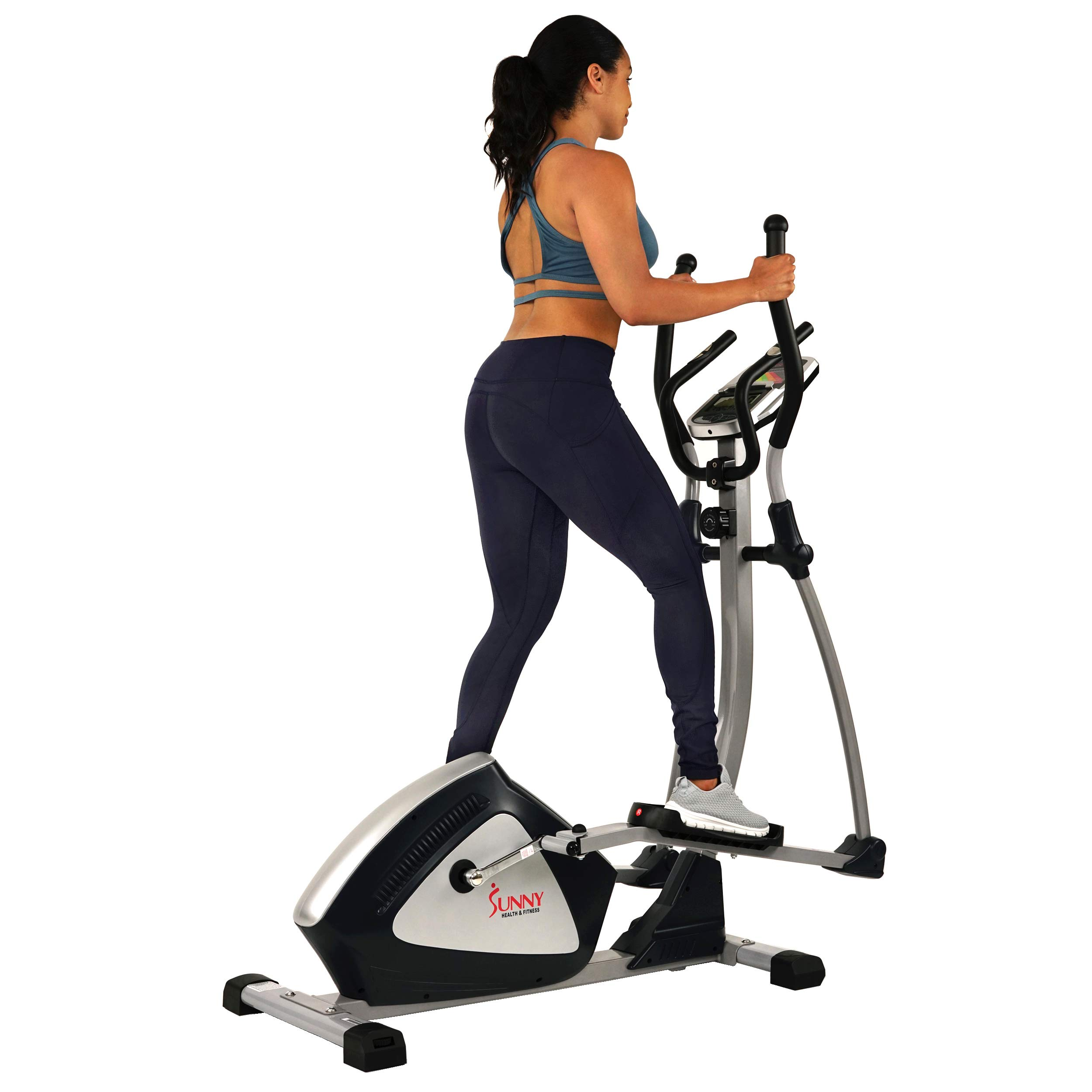 Sunny Health & Fitness Magnetic Elliptical Trainer Elliptical Machine w/  LCD Monitor and Heart Rate Monitoring - Endurance Zone - SF-E3804 by Sunny Health & Fitness (Image #11)