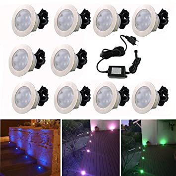 10x Lampe de Spot Encastrable LED Ø60mm RGB pour Terrasse Enterré ...