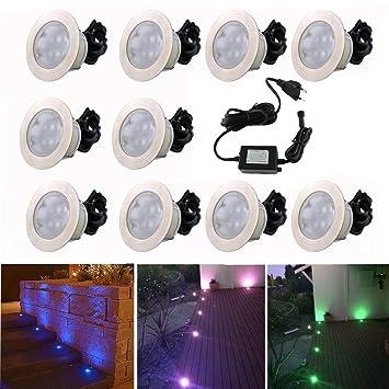 10x Lampe De Spot Encastrable Led O60mm Rgb Pour Terrasse Enterre
