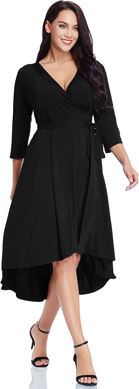GRAPENT Women's Plus Size Solid V Neck Knee Length 3/4 Sleeve Hi Lo True Wrap Dress
