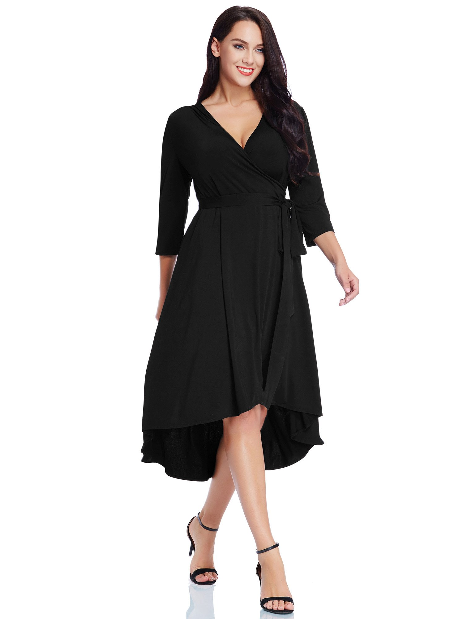 GRAPENT Women's Plus Size Solid V Neck Knee Length 3/4 Sleeve Hi Lo True Wrap Dress Surplice Flared Skirt Black Size 1X