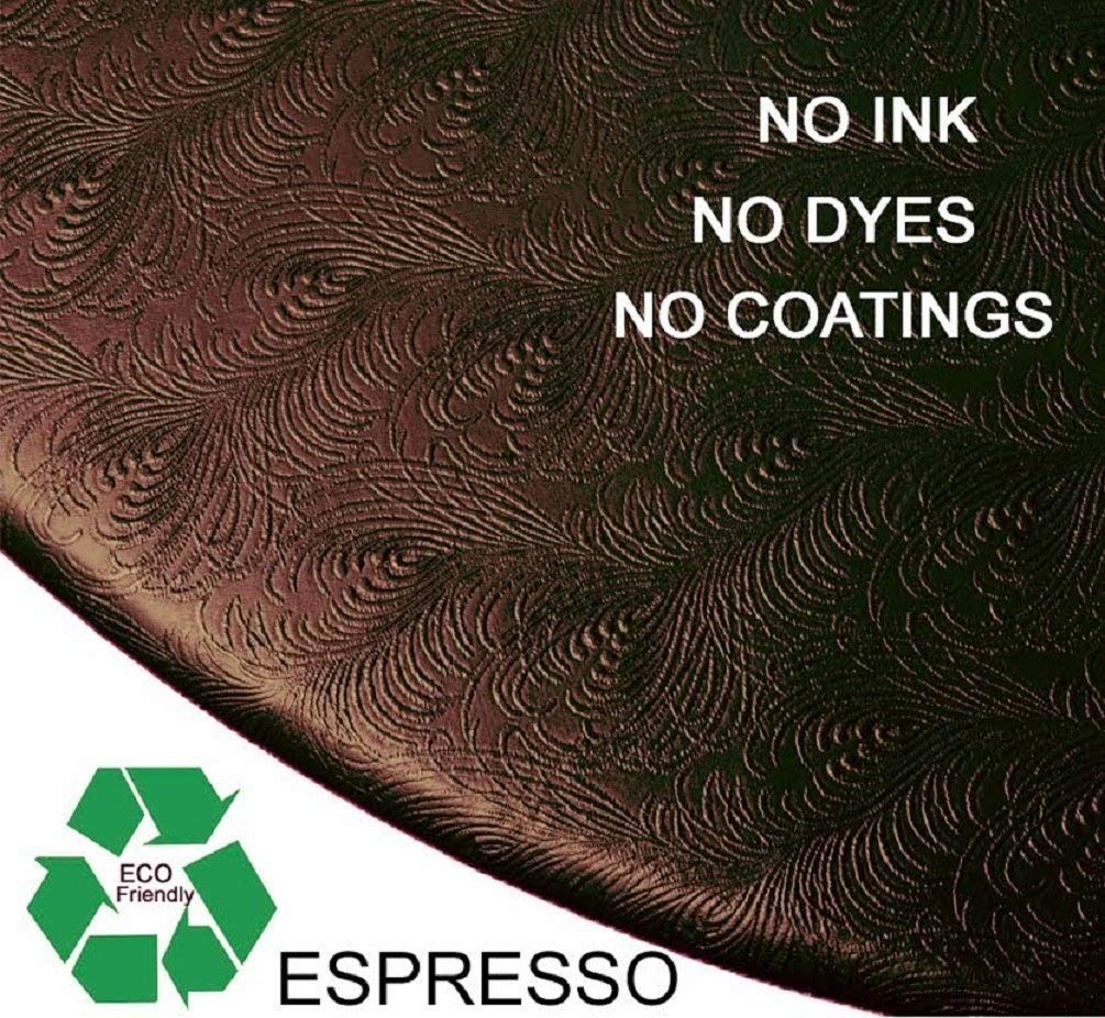 Econotex Fitted Round Sculptured Vinyl Table Cloth Cover fits 36 to 46 Espresso Brown