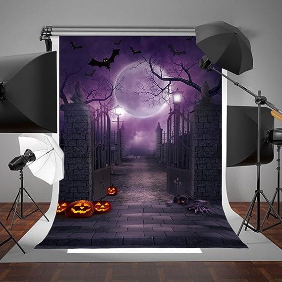 CSFOTO 7x5ft Cartoon Happy Halloween Backdrop Foggy Forest Grimace Pumpkin Bat House Halloween Party Decor Background for Photography Halloween Photo Wallpaper