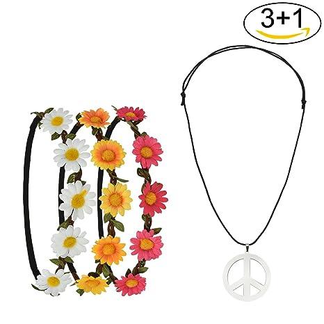 Pretop 3 Daisy Blumen Stirnband + 1 Kette Peace-Zeichen aus Metall, Ø 5cm, Blumenkranz | Blumenkranz | Haarband | Blumenkrone