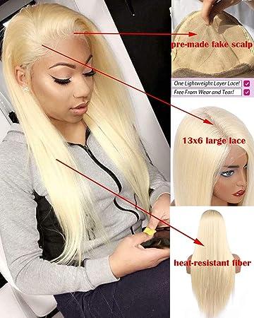 Amazon.com: Pelucas sintéticas con encaje frontal para mujer ...
