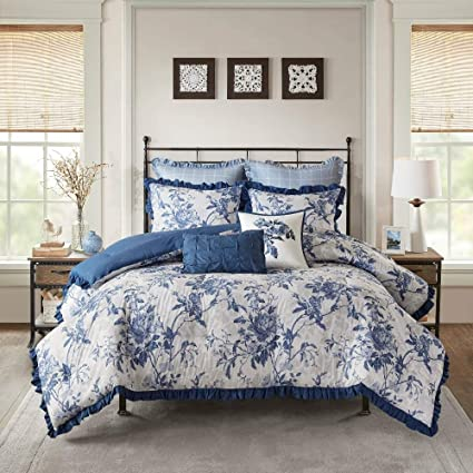Blue King Size Bedding Sets.Amazon Com 7 Pc French Country Navy Blue King Size