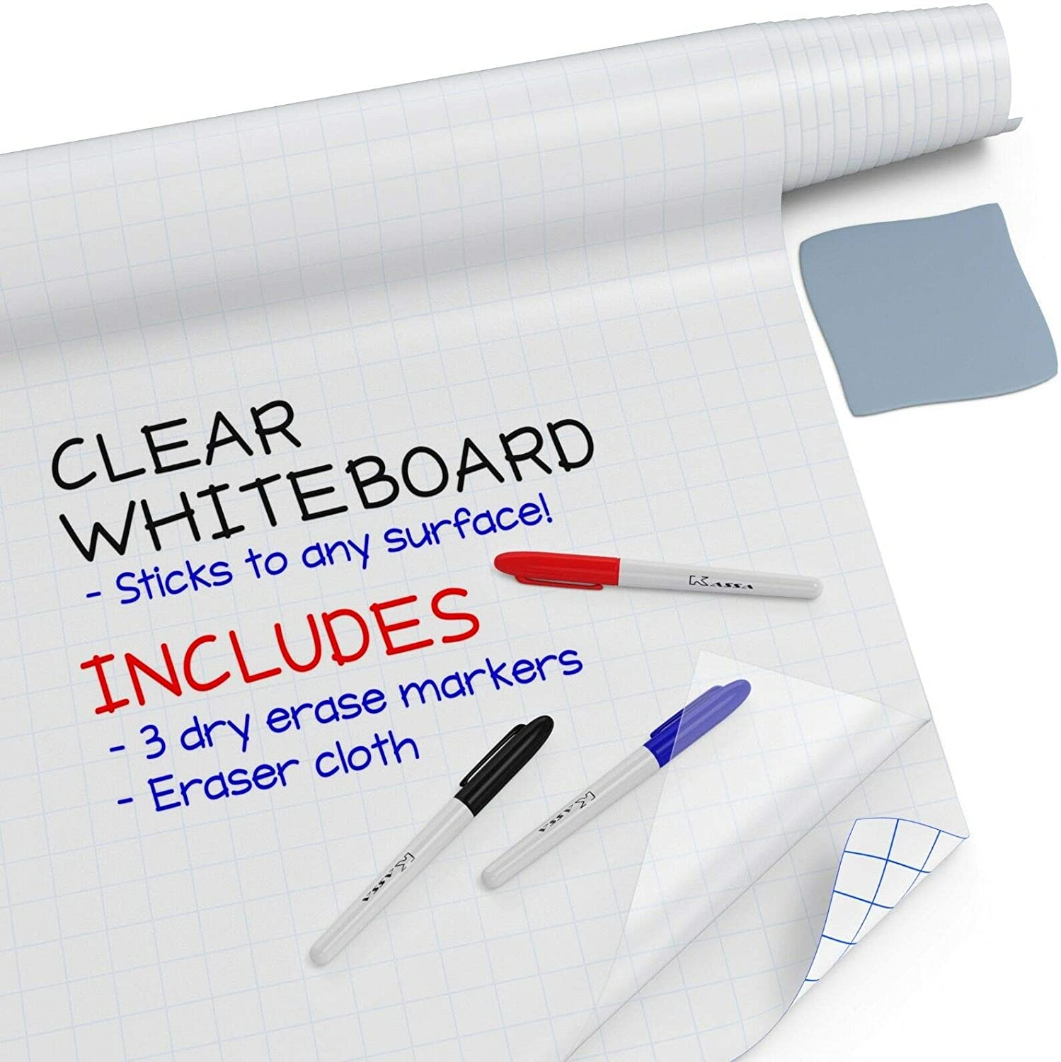 "Kassa Clear Dry Erase Board Sticker - 17.3"" x 78"" (6.5 Feet) - 3 Dry-Erase Board Markers Included - Transparent Adhesive White Board for Refrigerator, Desk, Office - Glass Dry Erase Board Alternative"