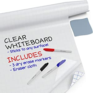 """Kassa Clear Dry Erase Board Sticker - 17.3"""" x 78"""" (6.5 Feet) - 3 Dry-Erase Board Markers Included - Transparent Adhesive White Board for Refrigerator, Desk, Office - Glass Dry Erase Board Alternative"""