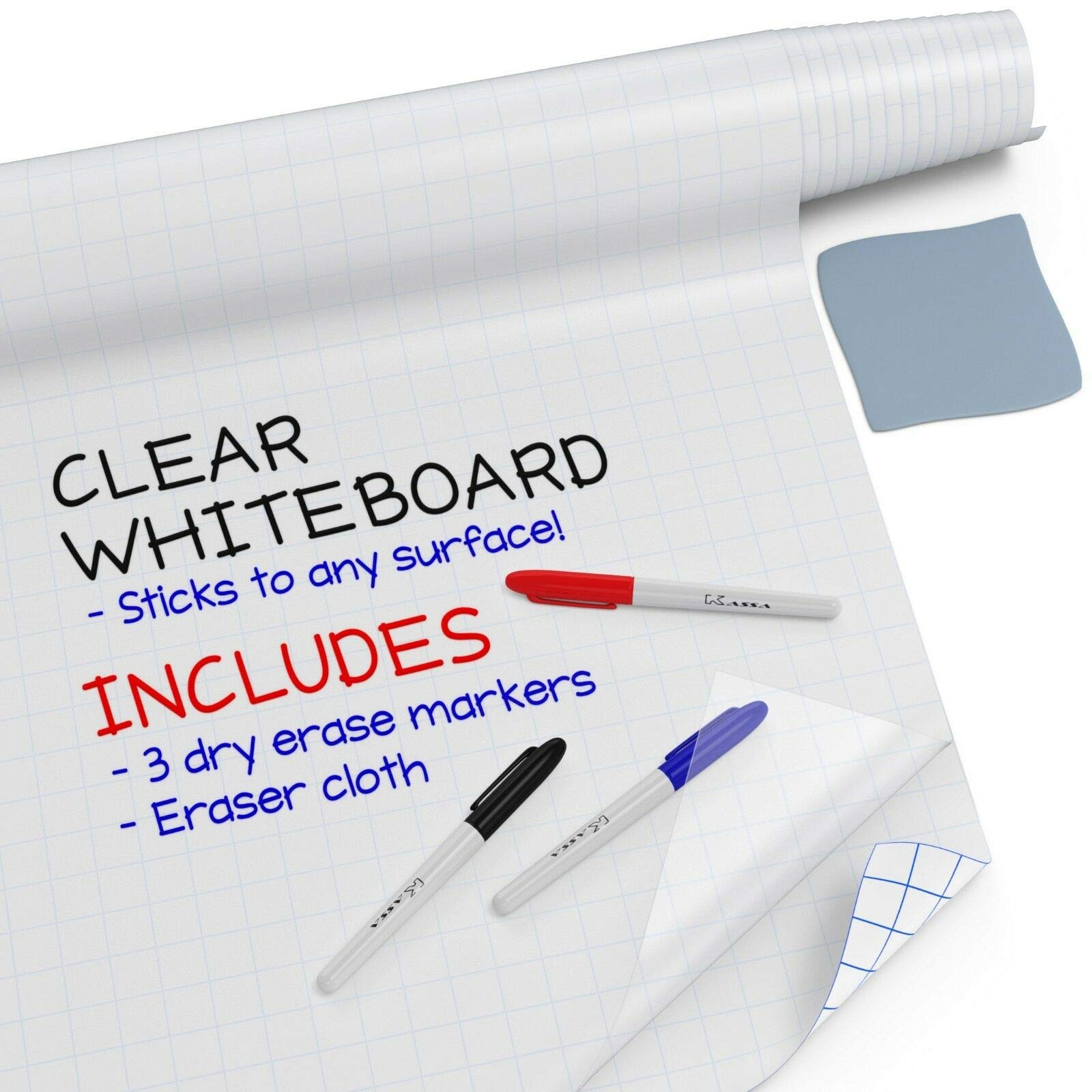 Kassa Clear Dry Erase Board Sticker - 18'' x 78'' (6.5 Feet) - 3 Dry-Erase Board Markers Included - Transparent Adhesive White Board for Refrigerator, Desk, Office - Glass Dry Erase Board Alternative