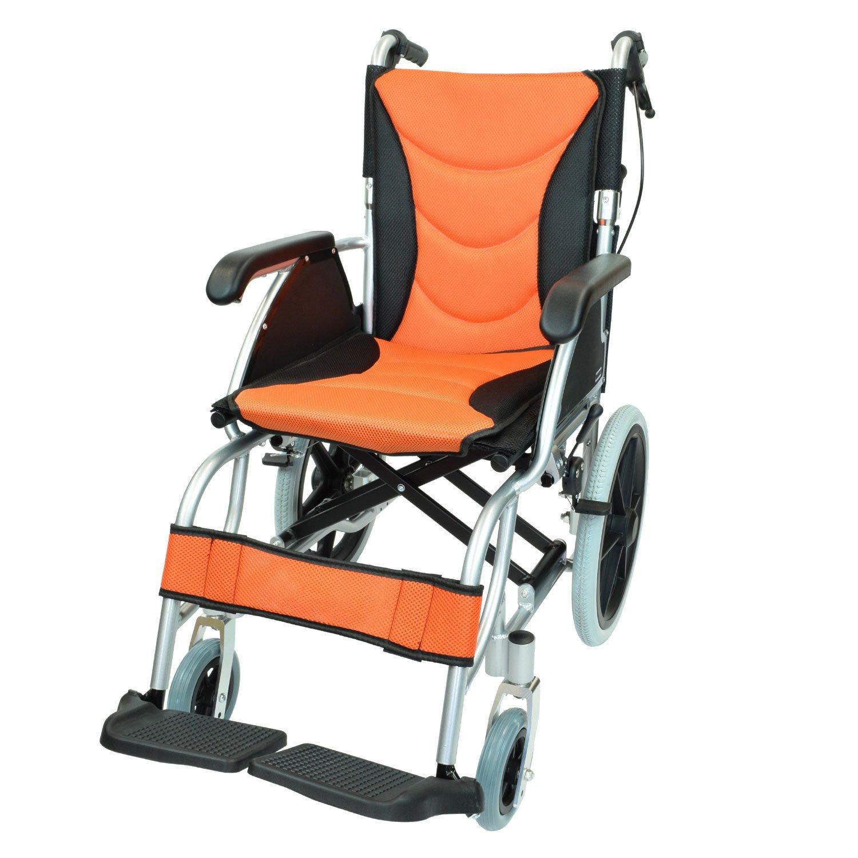 ケアテックジャパン 介助式 アルミ製 車椅子 CA-42SU ハピネスプレミアム -介助式- (オレンジ) B01NATUSHU オレンジ オレンジ