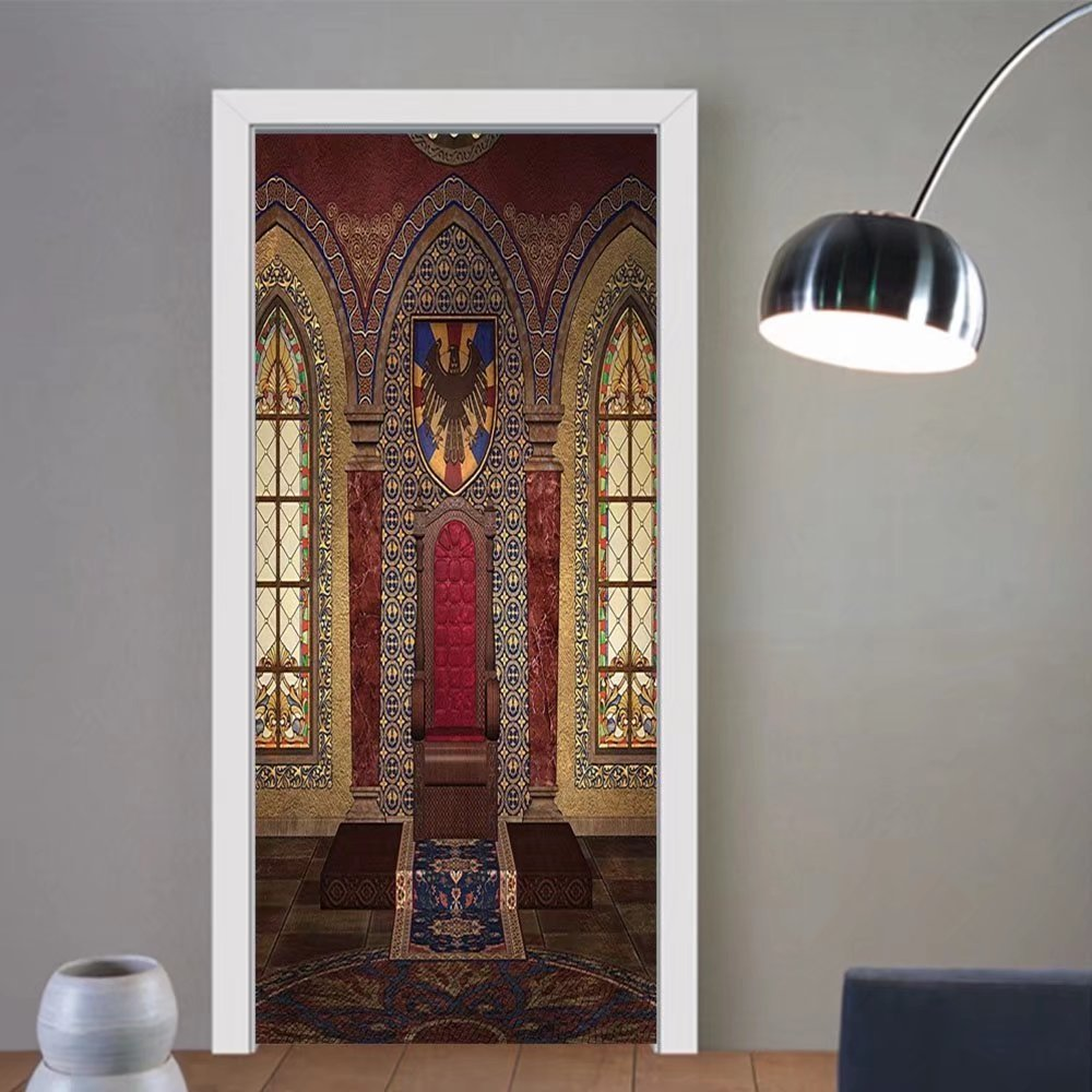 Gzhihine custom made 3d door stickers Gothic House Decor Collection Red Medieval Throne in Chapel Eagle Portrait on Ancient Fantasy Church Print Red Brown For Room Decor 30x79