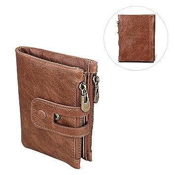 1ab9d55c43c9e Asnlove Premium PU Leder Portemonnaie Männer mit Anti-RFID und Double  Reißverschluss Schnalle Geldbörse Vintage